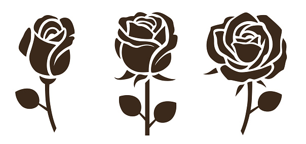 Flower icon. Set of decorative rose silhouettes.