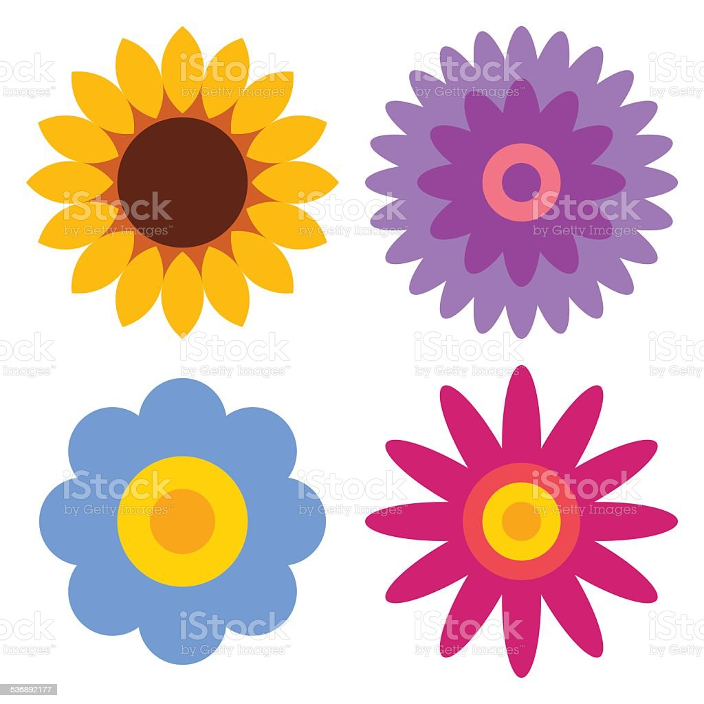 Flower icon set - sunflower, chrysanthemum, daisy and gerber vector art illustration