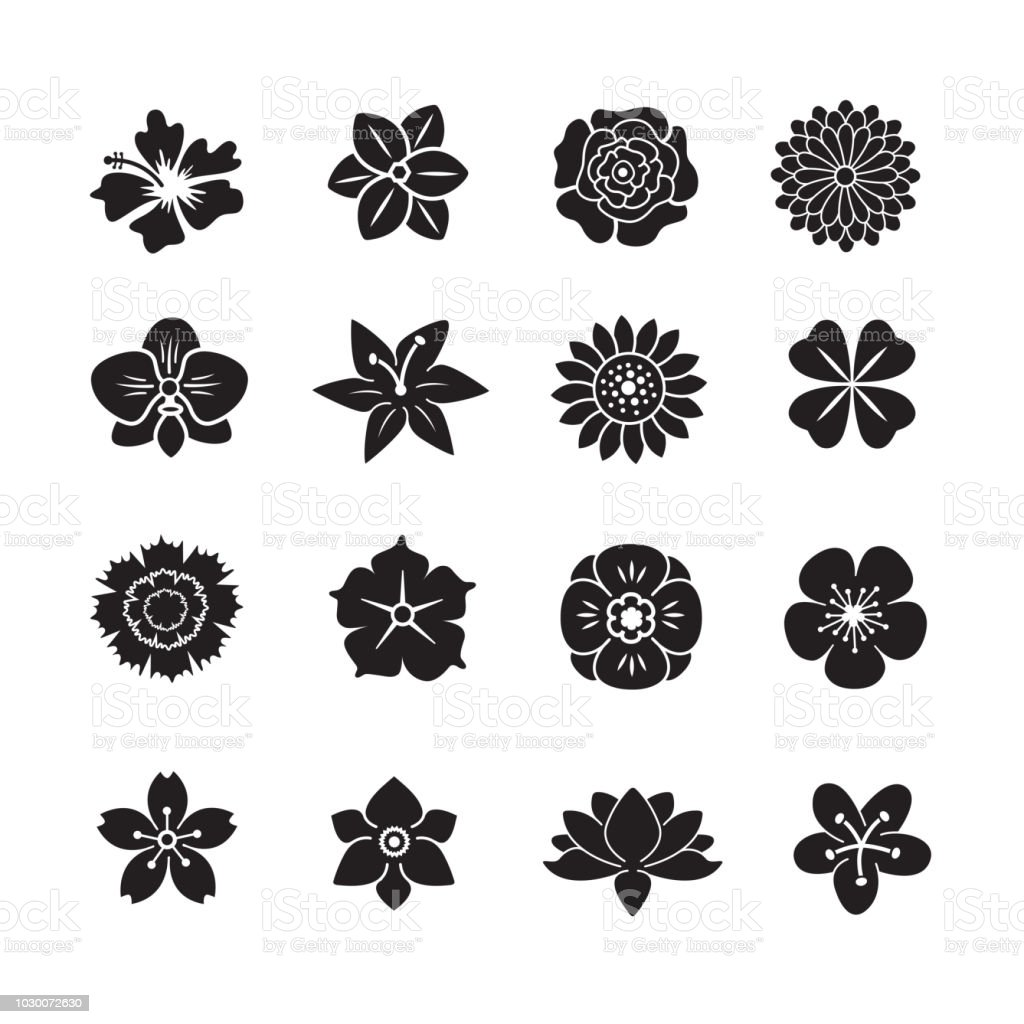 Flower icon set royalty-free flower icon set stock illustration - download image now