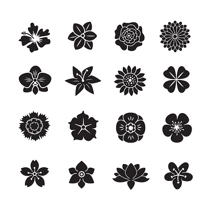 Flower icon set clipart