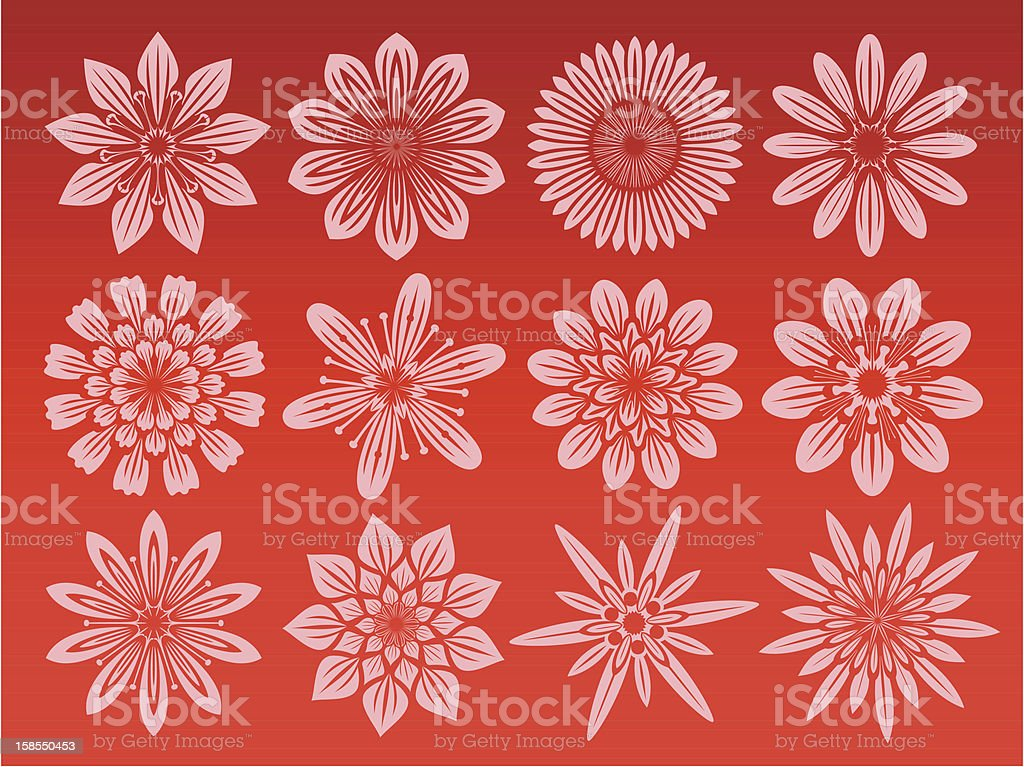 Flower icon set royalty-free stock vector art