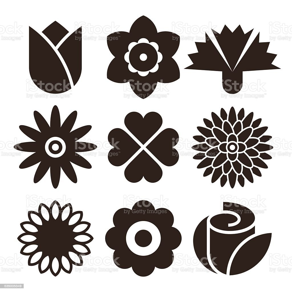 Flower icon set vector art illustration