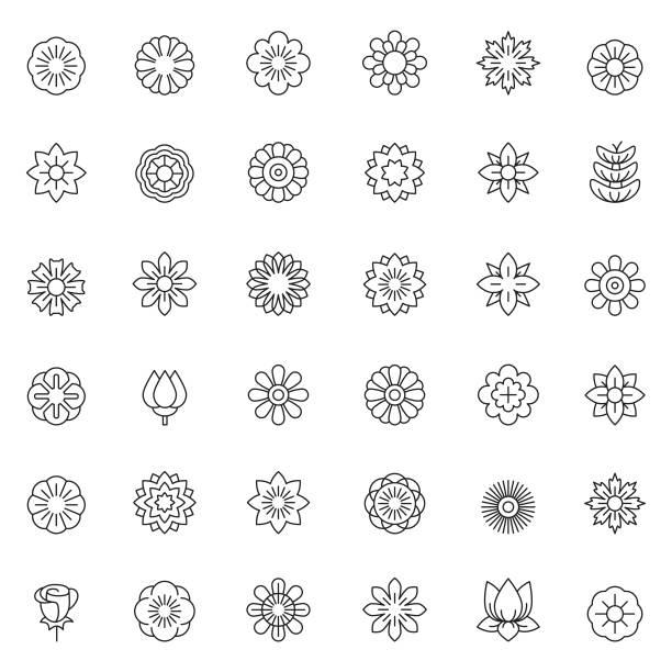 Flower icon set Flower icon set flower head stock illustrations