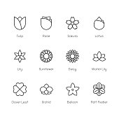 Flower Icon Thin Line Series Vector EPS File.