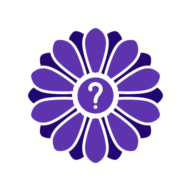 Flower icon with question mark. Flower icon and help, how to, info, query symbol vector art illustration