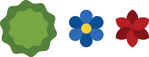 blume symbole, bunte pflanzen natur flache vektor - hibiskusgarten stock-grafiken, -clipart, -cartoons und -symbole