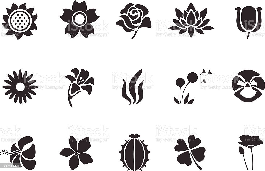 Flower icons - Illustration vector art illustration