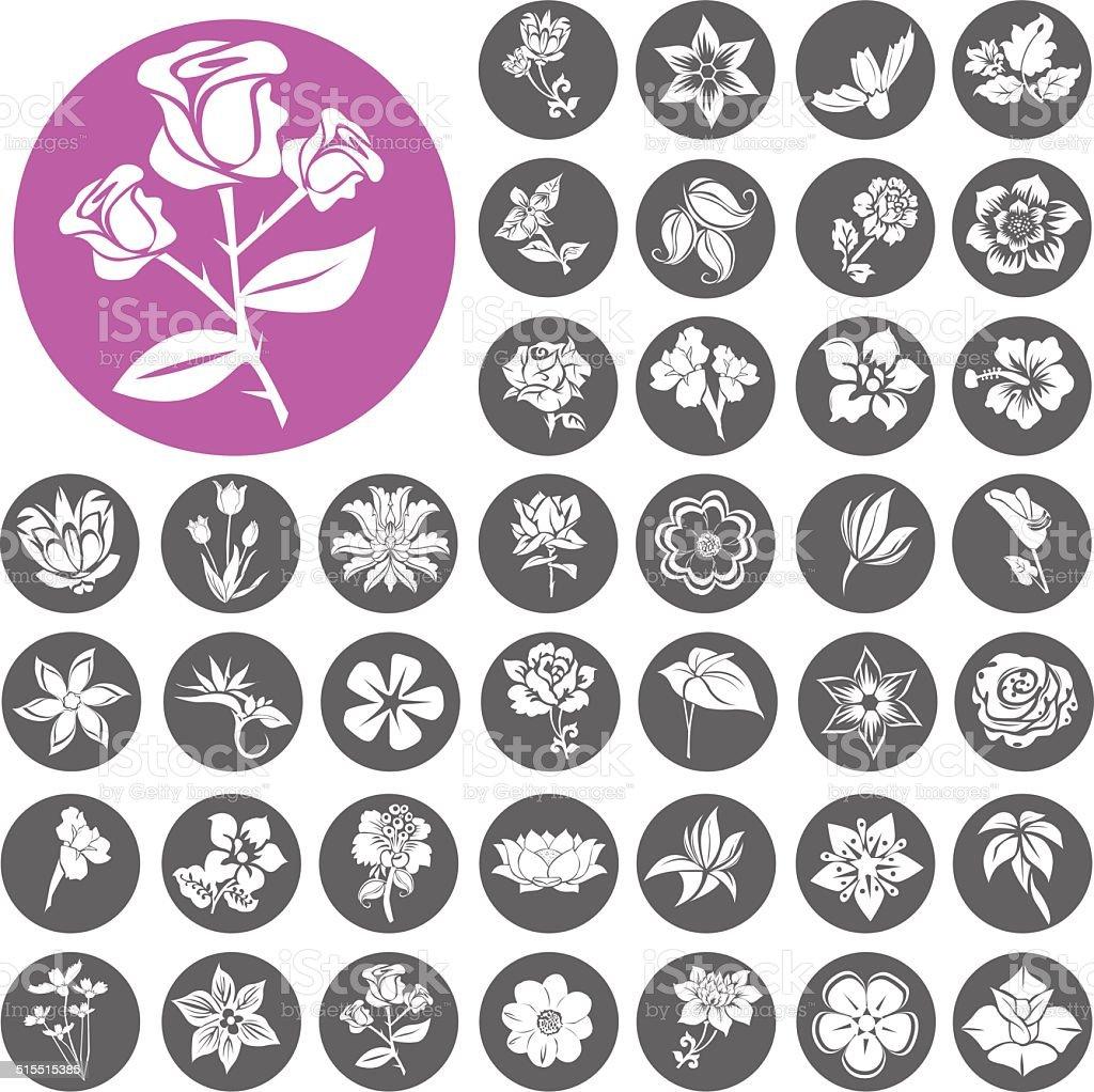 Blume Symbole Set.  Illustration eps10 – Vektorgrafik
