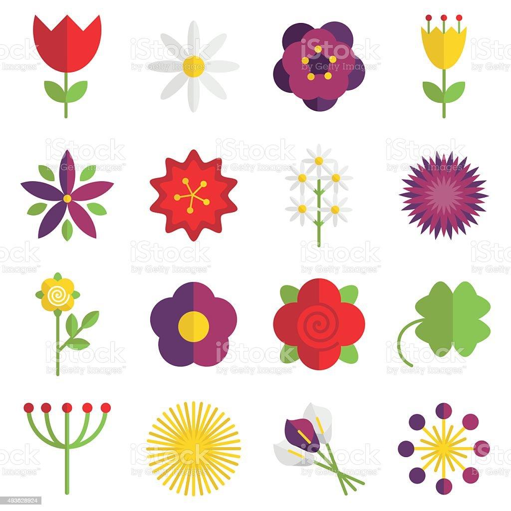 Flower icons vector art illustration