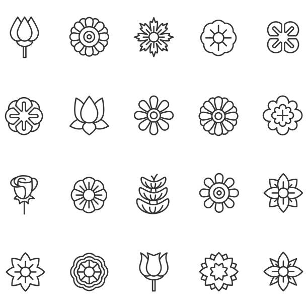 flower icons - flowers stock illustrations, clip art, cartoons, & icons