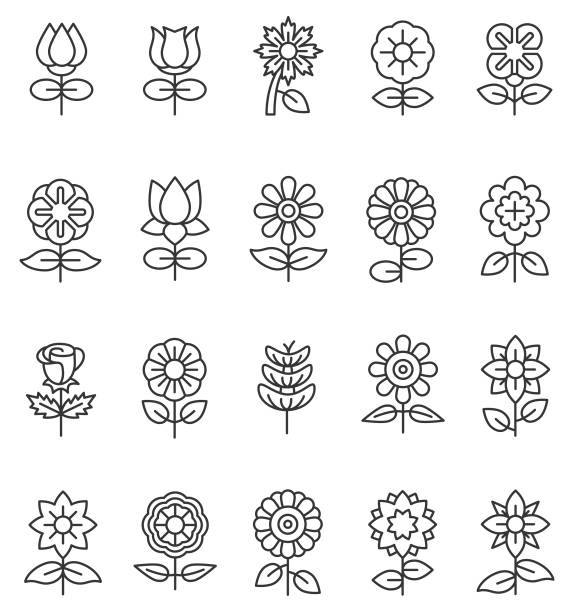 Flower icons Flower icons flower head stock illustrations