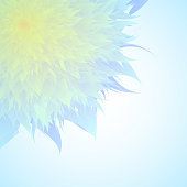Vector Flower In Blue And Yellow Color, Corner Flower Blue Background, Mother's Day, Brochure, Banner, Invitation and Greeting Card