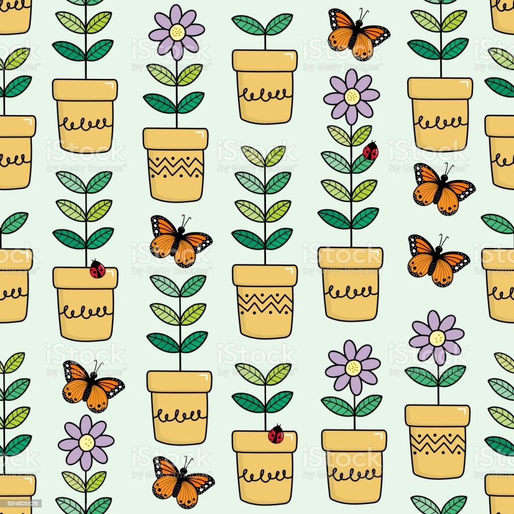 Fleurs Dans Les Transparente Motif Pot De Fleurs Cliparts