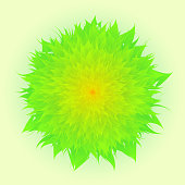 Vector Flower In Green And Yellow Color, Green Background, Mother's Day, Brochure, Banner, Invitation and Greeting Card