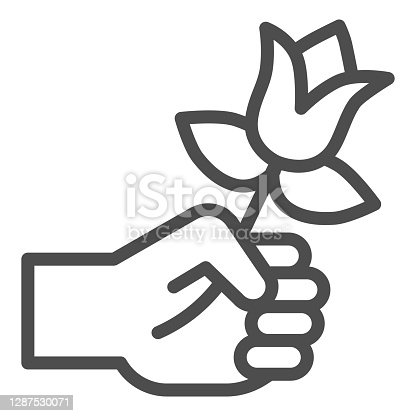 istock Flower in hand line icon, valentine day concept, gift for beloved woman sign on white background, romantic present icon in outline style for mobile concept and web design. Vector graphics. 1287530071
