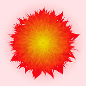 Vector Flower In Red And Yellow Color, Red Background, Mother's Day, Brochure, Banner, Invitation and Greeting Card