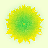 Vector Flower In Yellow And Green Color, Yellow Background, Mother's Day, Brochure, Banner, Invitation and Greeting Card