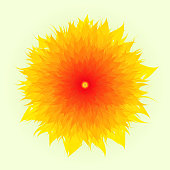 Vector Flower In Yellow And Red Color, Yellow Background, Mother's Day, Brochure, Banner, Invitation and Greeting Card