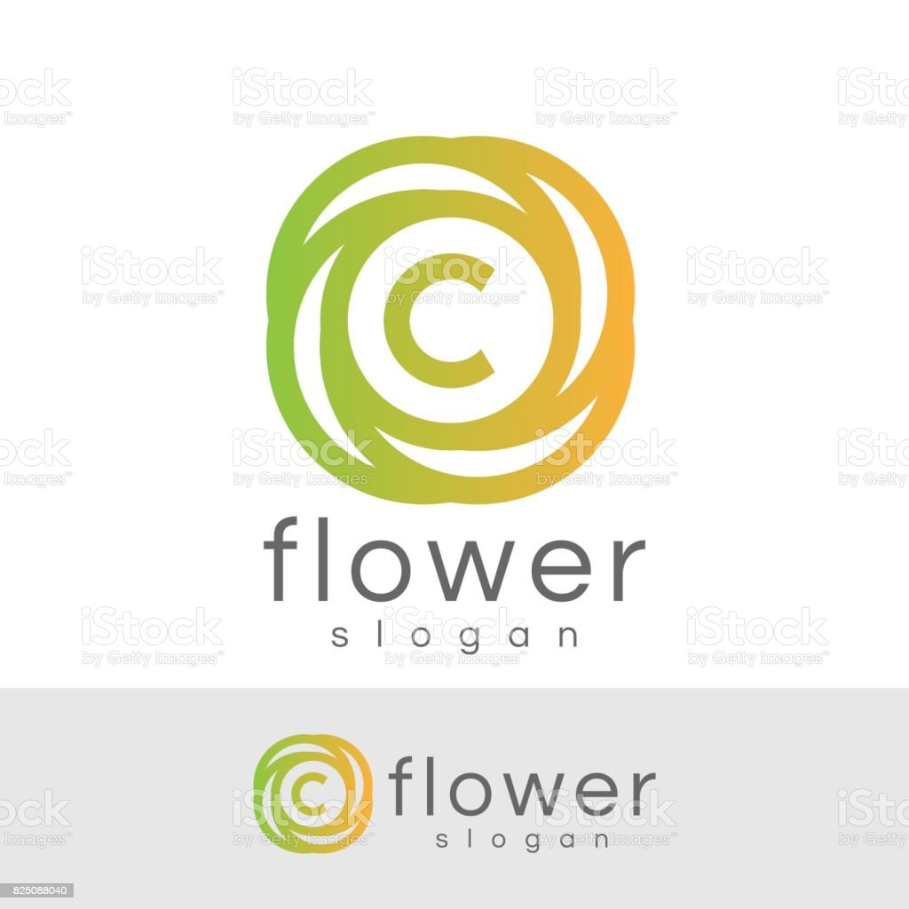 flower initial Letter C icon design vector art illustration
