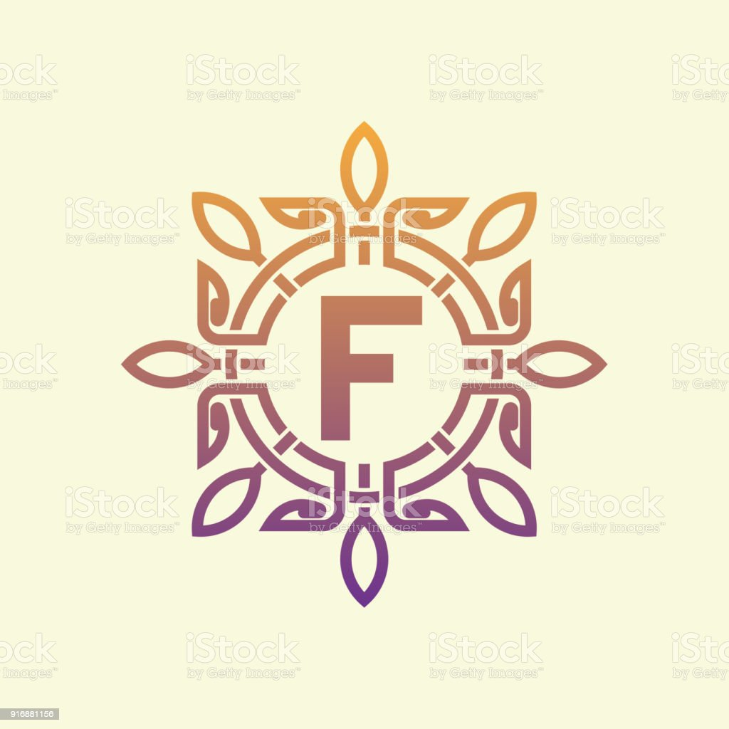 flower initial Letter F icon design vector art illustration