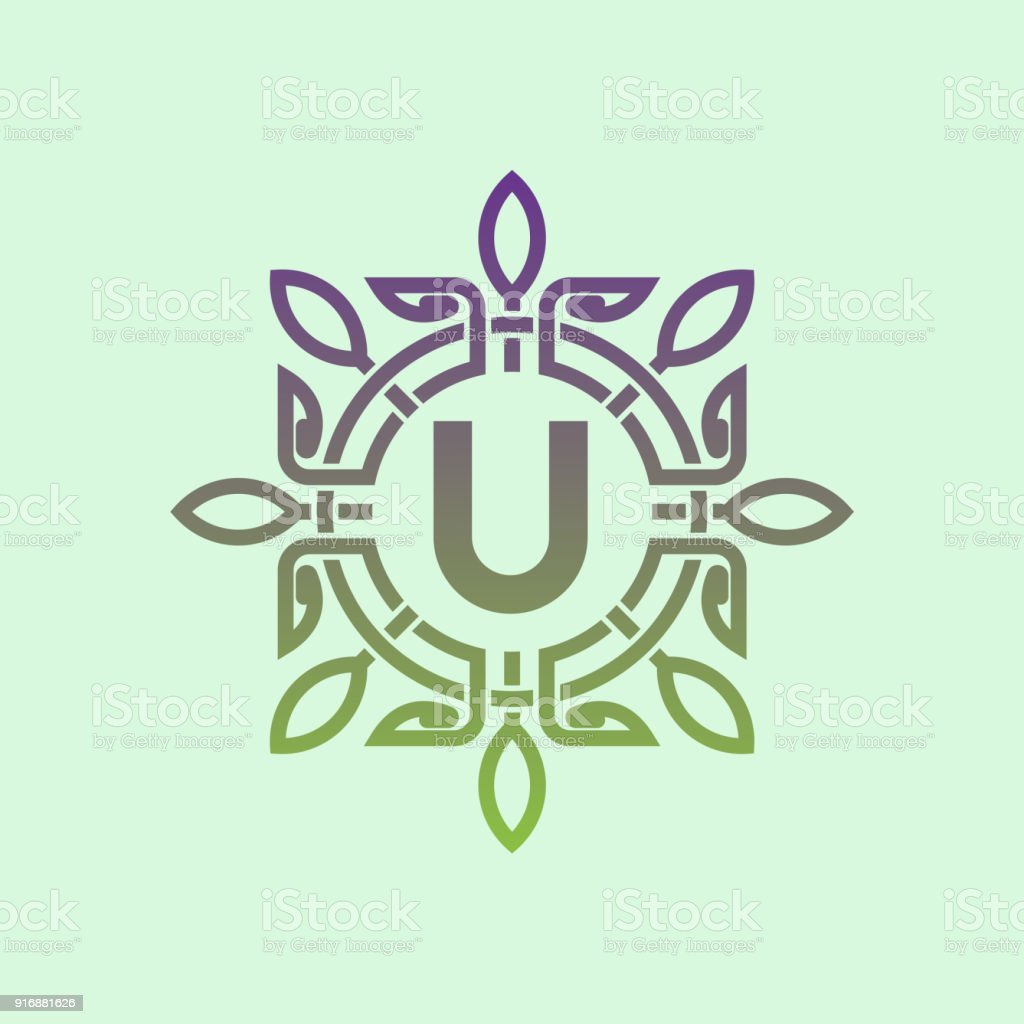 Flower Initial Letter U Icon Design Stock Vector Art More Images
