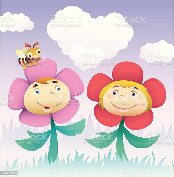 Цветок Детей — стоковая векторная графика и другие изображения на тему Антропоморфный смайлик