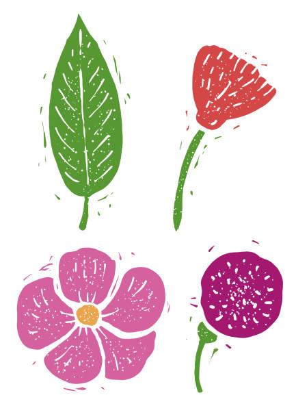 Flower, leaf linocut linocut illustration, draw, ink, vector Illustration, what made by linocut, then it was digitalized. linocut stock illustrations