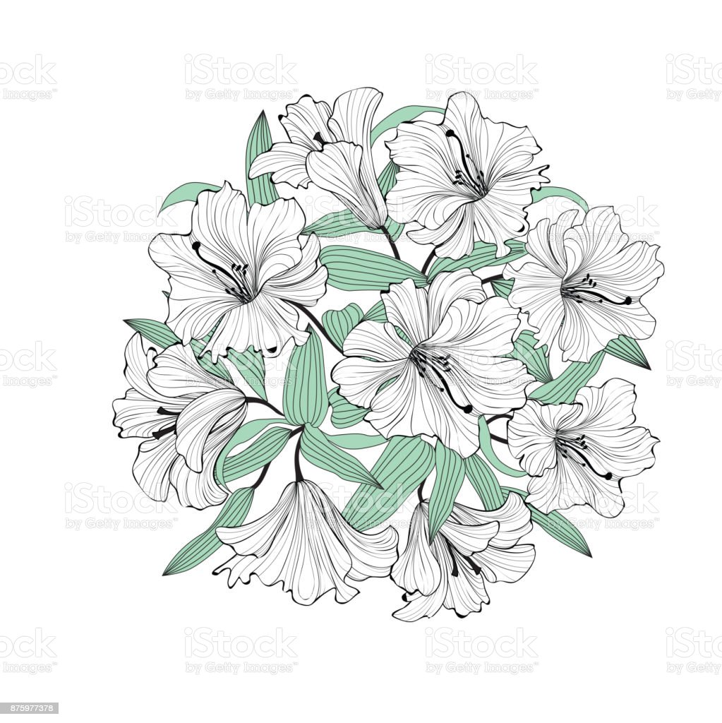 Flower lily bouquet isolated floral greetinng card background stock flower lily bouquet isolated floral greetinng card background royalty free flower lily bouquet isolated izmirmasajfo