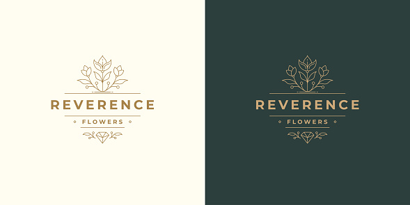 Flower line and branch with leaves vector logo emblem design template illustration simple minimal linear style