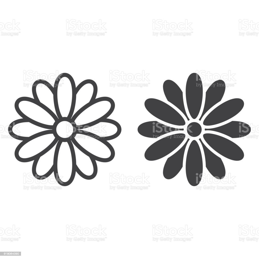 Flower line and glyph icon, easter and holiday, nature sign vector graphics, a linear pattern on a white background, eps 10. vector art illustration