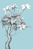 Flower Line Art. Fictional plant. Vector illustration.