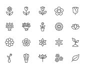 Flower line icon set. Rose, tulip in vase, fruit bouquet, spring blossom, cactus minimal vector illustration Simple outline signs for flowers delivery application. Pixel Perfect Editable Stroke.
