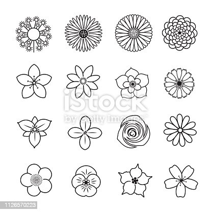 Flower line icon set, Set of 16 editable filled, Simple clearly defined shapes in one color.