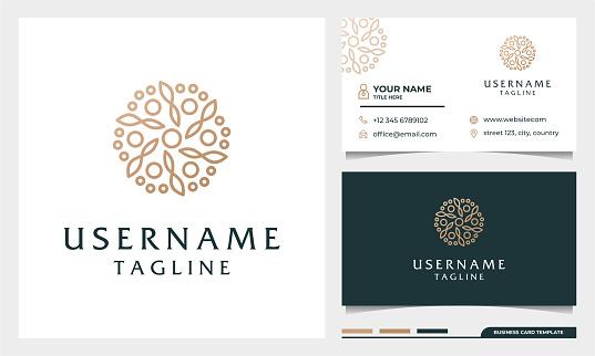 flower logo design, Beauty, fashion, salon, spa, yoga logo with business card design template