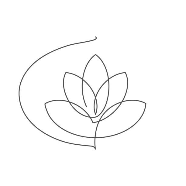 ilustrações, clipart, desenhos animados e ícones de flor lótus linha contínua ilustração em vetor com curso editável. - lotus