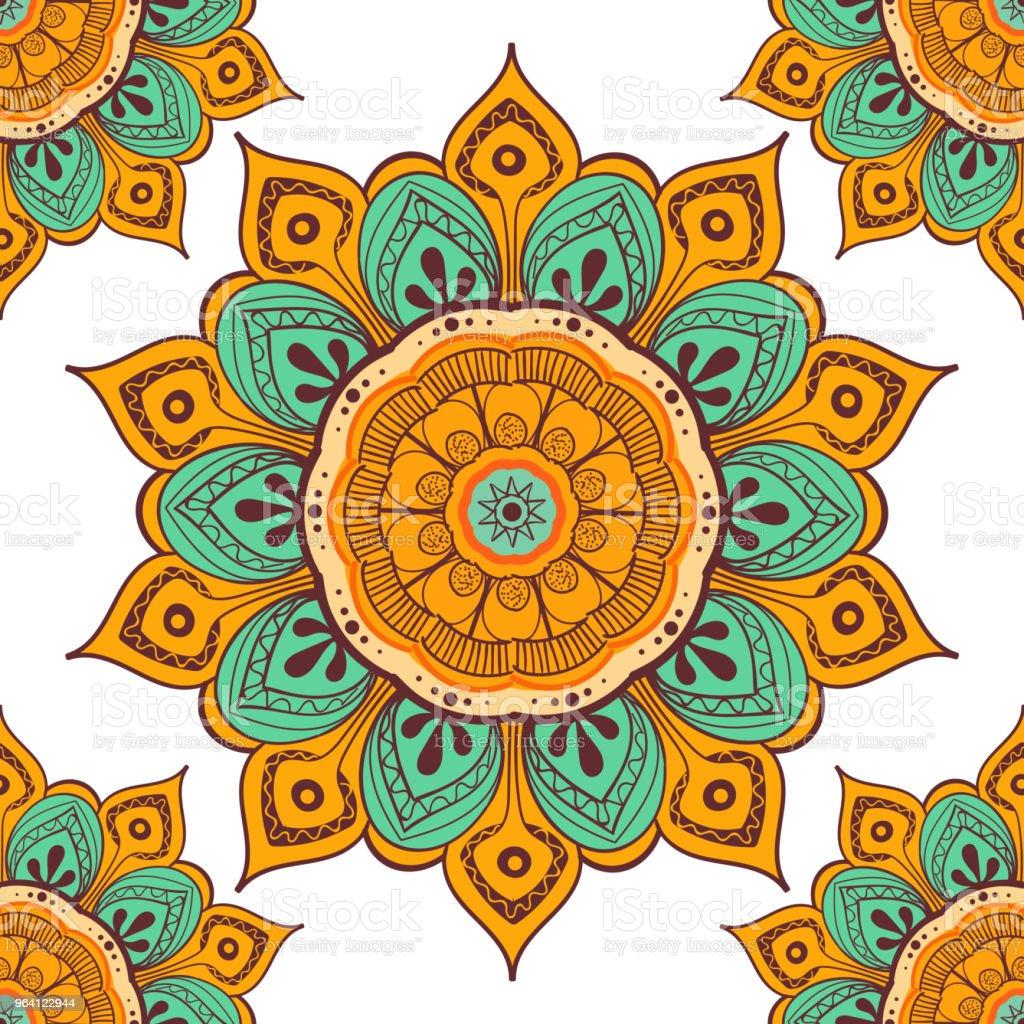 Cicek Mandala Renkli Arka Plan Kartlari Baski Tekstil Ve Boyama