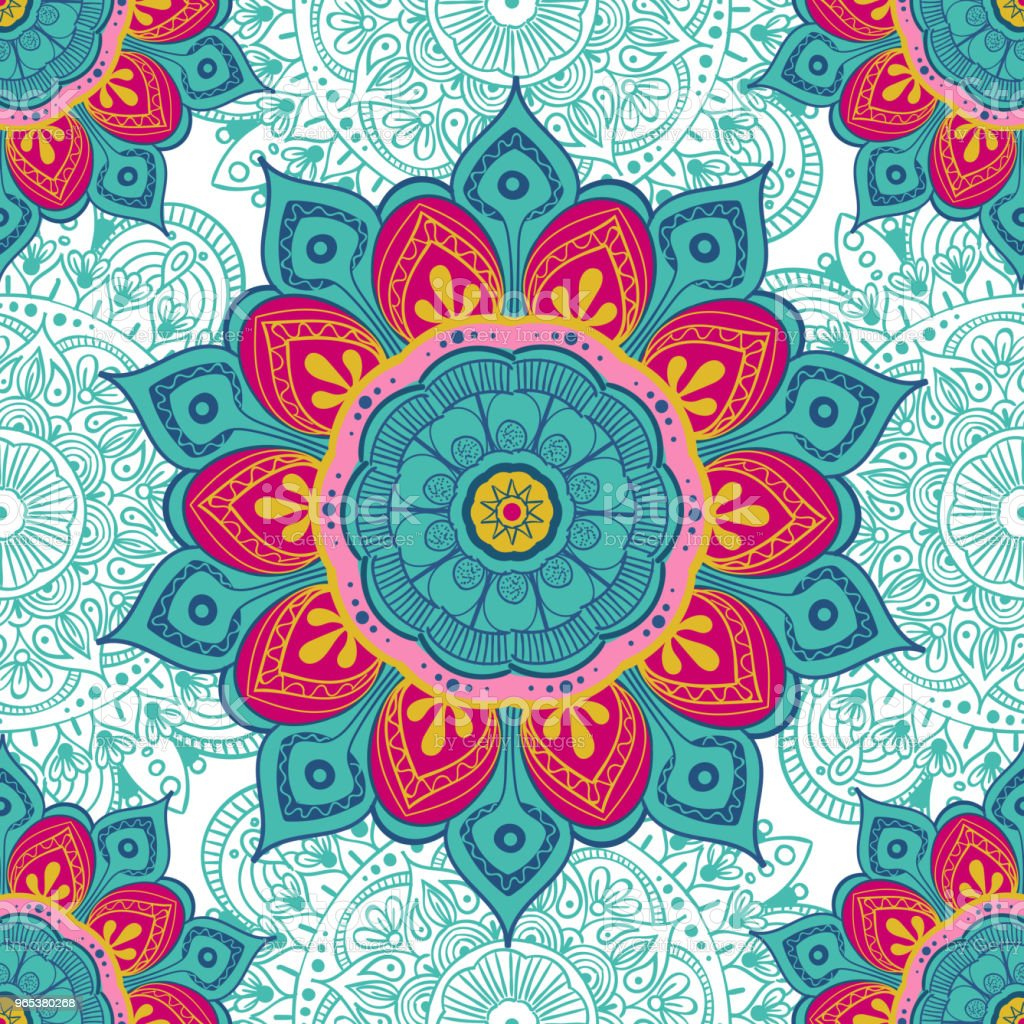 Flower mandala colorful background for cards, prints, textile and coloring books. Seamless pattern royalty-free flower mandala colorful background for cards prints textile and coloring books seamless pattern stock vector art & more images of abstract
