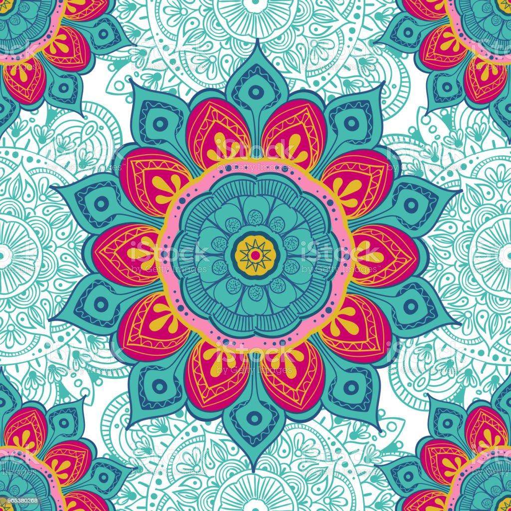 꽃 만다라 색칠 하기 책, 섬유, 인쇄, 카드에 대 한 다채로운 배경. 원활한 패턴 - 로열티 프리 0명 벡터 아트