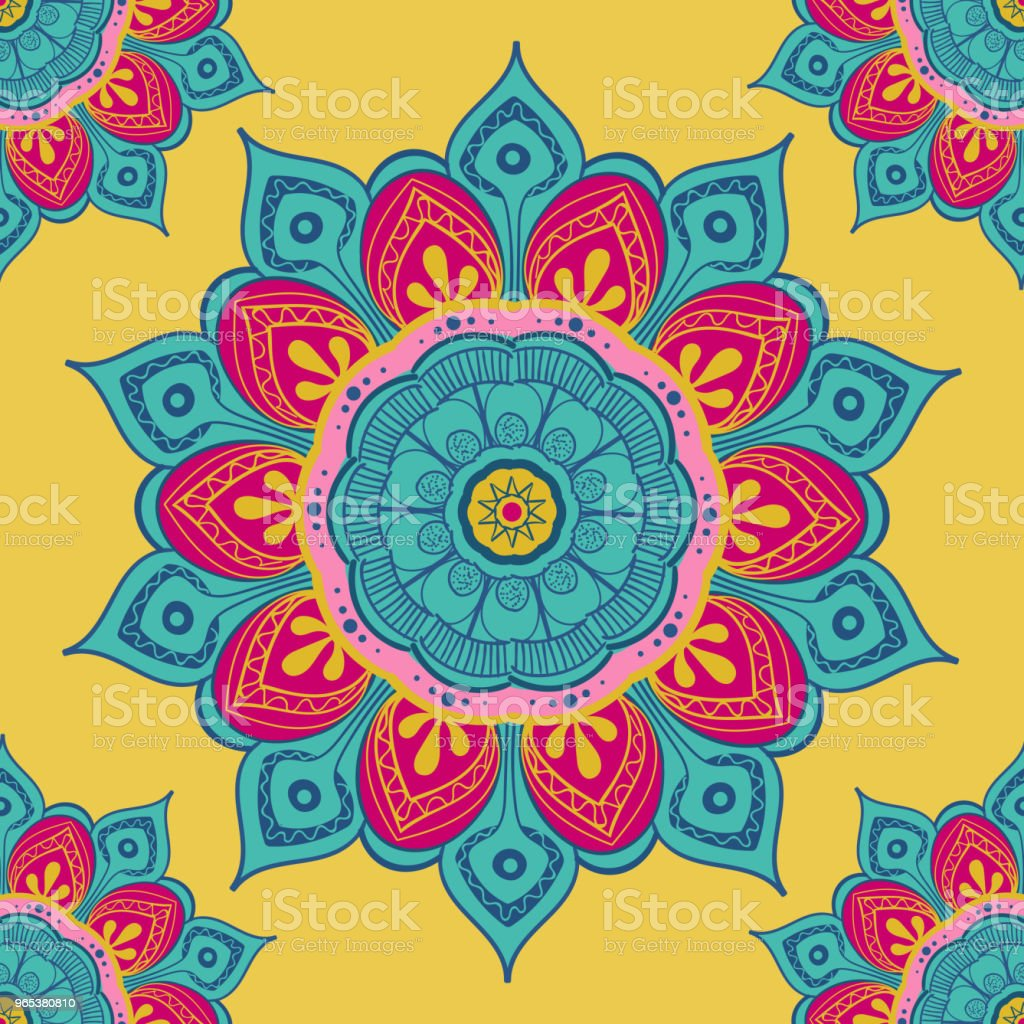 Flower mandala colorful background for cards, prints, textile and coloring books. Seamless pattern flower mandala colorful background for cards prints textile and coloring books seamless pattern - stockowe grafiki wektorowe i więcej obrazów abstrakcja royalty-free