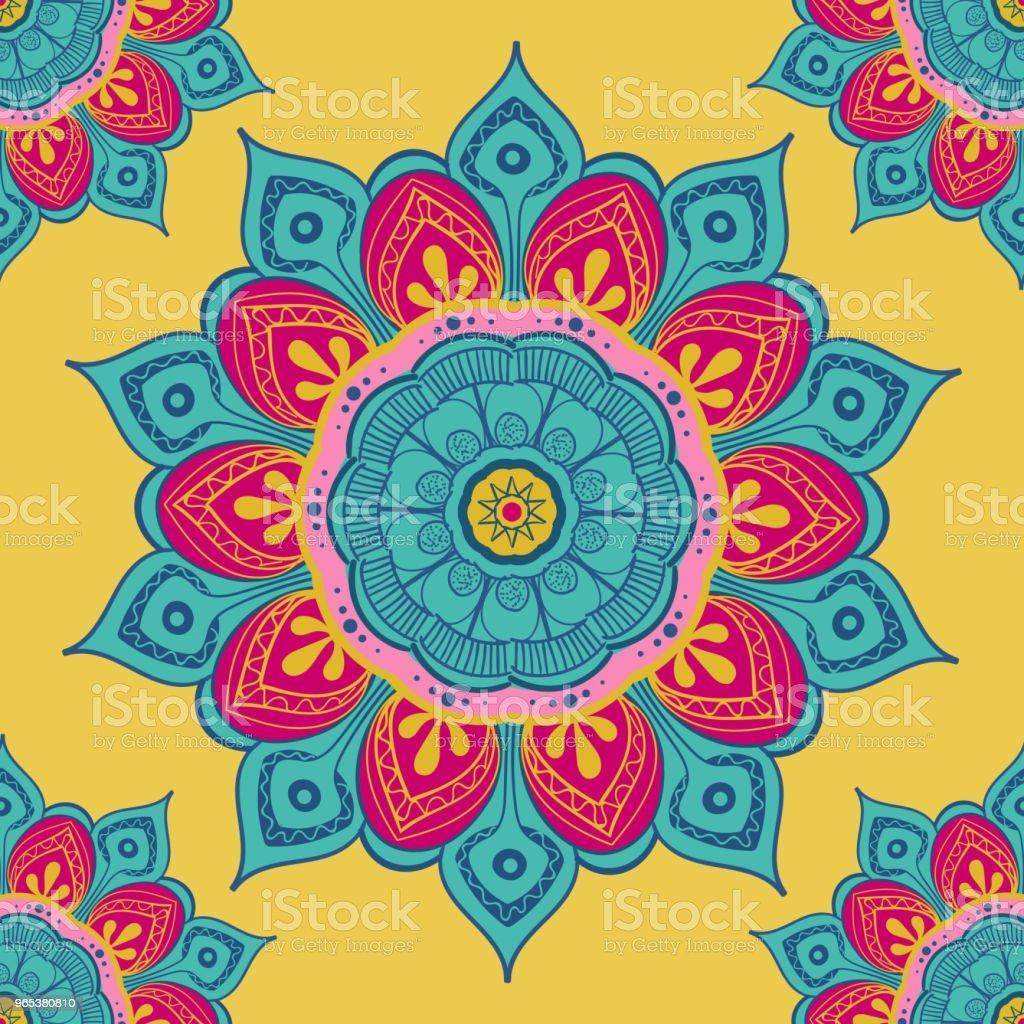 Fleur mandala fond coloré pour les cartes, les tirages, les textiles et les livres à colorier. Modèle sans couture - clipart vectoriel de Abstrait libre de droits