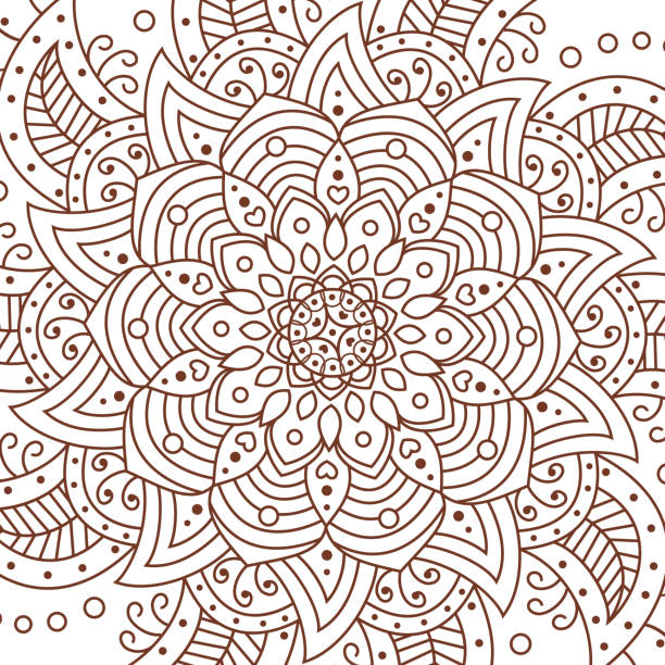 flower mandala. decorative elements. coloring book page - coloring book pages templates stock illustrations