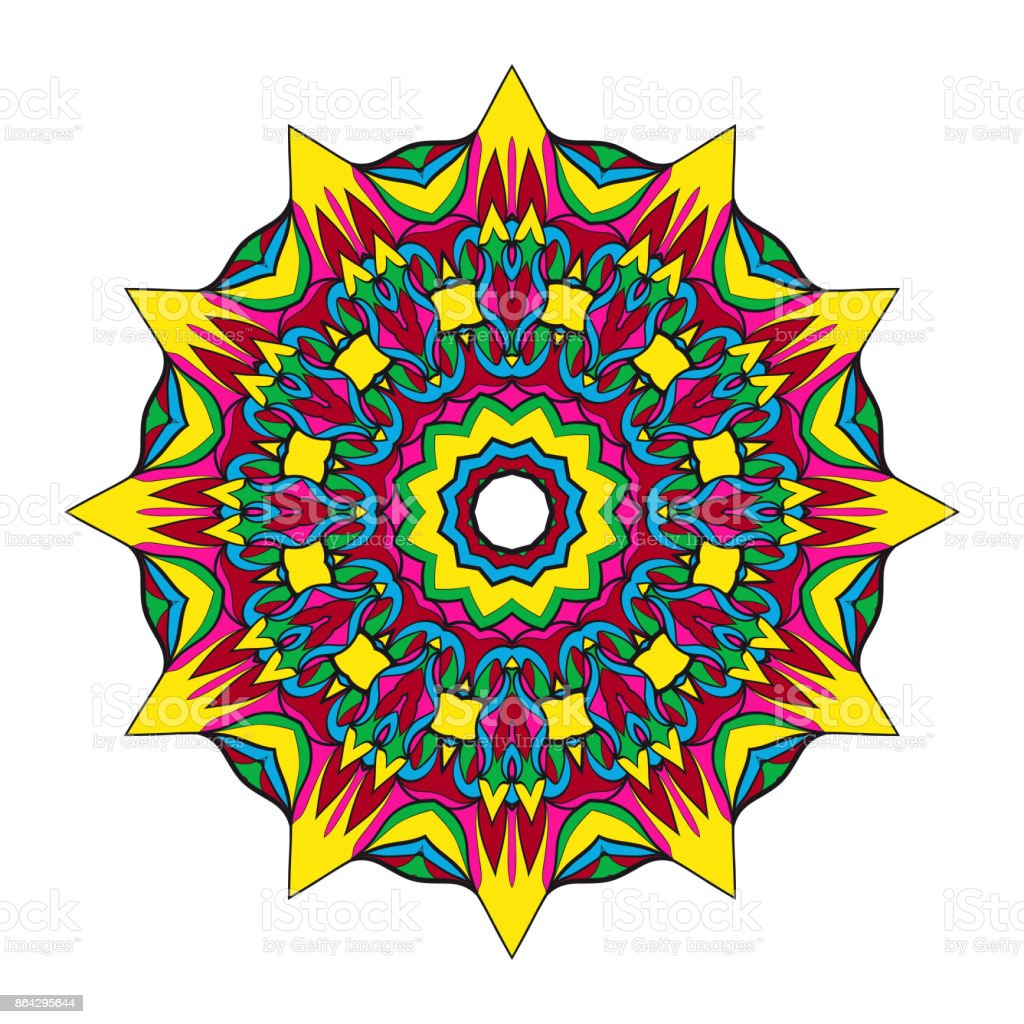 flower mandala design. Vector round pattern. Coloring. Design for greeting card, invitation, tattoo. royalty-free flower mandala design vector round pattern coloring design for greeting card invitation tattoo stock vector art & more images of adult