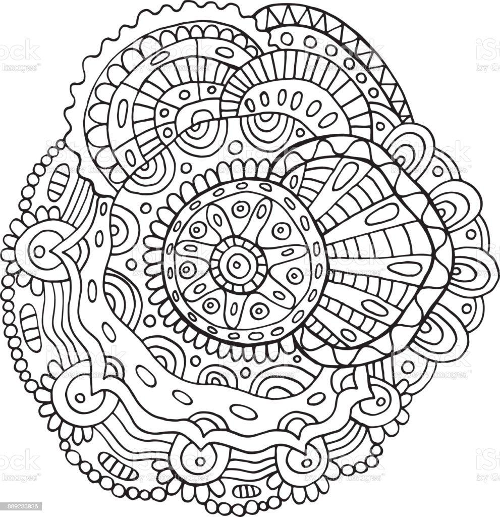 Blume Mandala Malvorlagen Für Erwachsene Doodle Vektorillustration ...