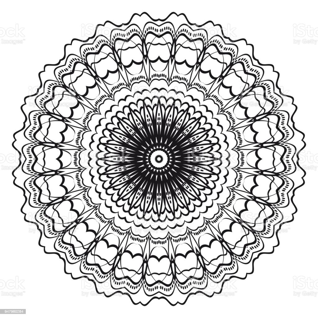Flower Mandala Printable Package Decorative Elements Coloring Page Template It Is Vector Illustrations