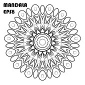 Flower Mandala. Vintage decorative elements. Oriental pattern, islam, arabic, indian, moroccan, asian, turkish, mystic, ottoman motifs. Coloring book element
