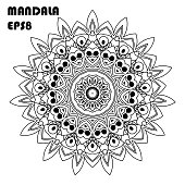 Flower Mandala. Vintage decorative elements. Oriental pattern, islam, arabic, indian, moroccan, asian, turkish, mystic, ottoman motifs. Coloring book element