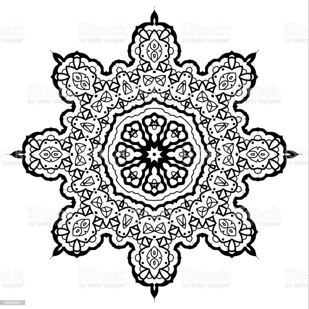 Flower Mandala. Vintage decorative elements - Grafika wektorowa royalty-free (Bez ludzi)