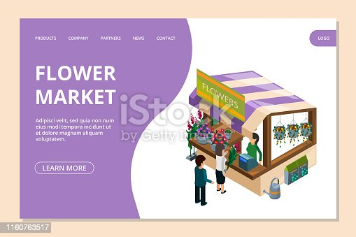Flower market landing page template. Isometric flowers, counter, people vector illustration. Bouquet service and florist store, seller and customer