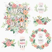 A vector illustration of Flower Mother's Day Frame Elements. Perfect for Happy Mother's Day, greeting card, Valentine's, floral bouquet and many more