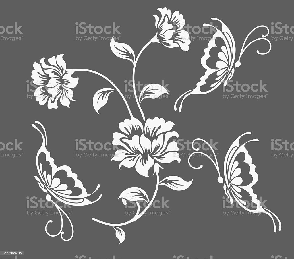 Flower motif and butterfly sketch vector art illustration